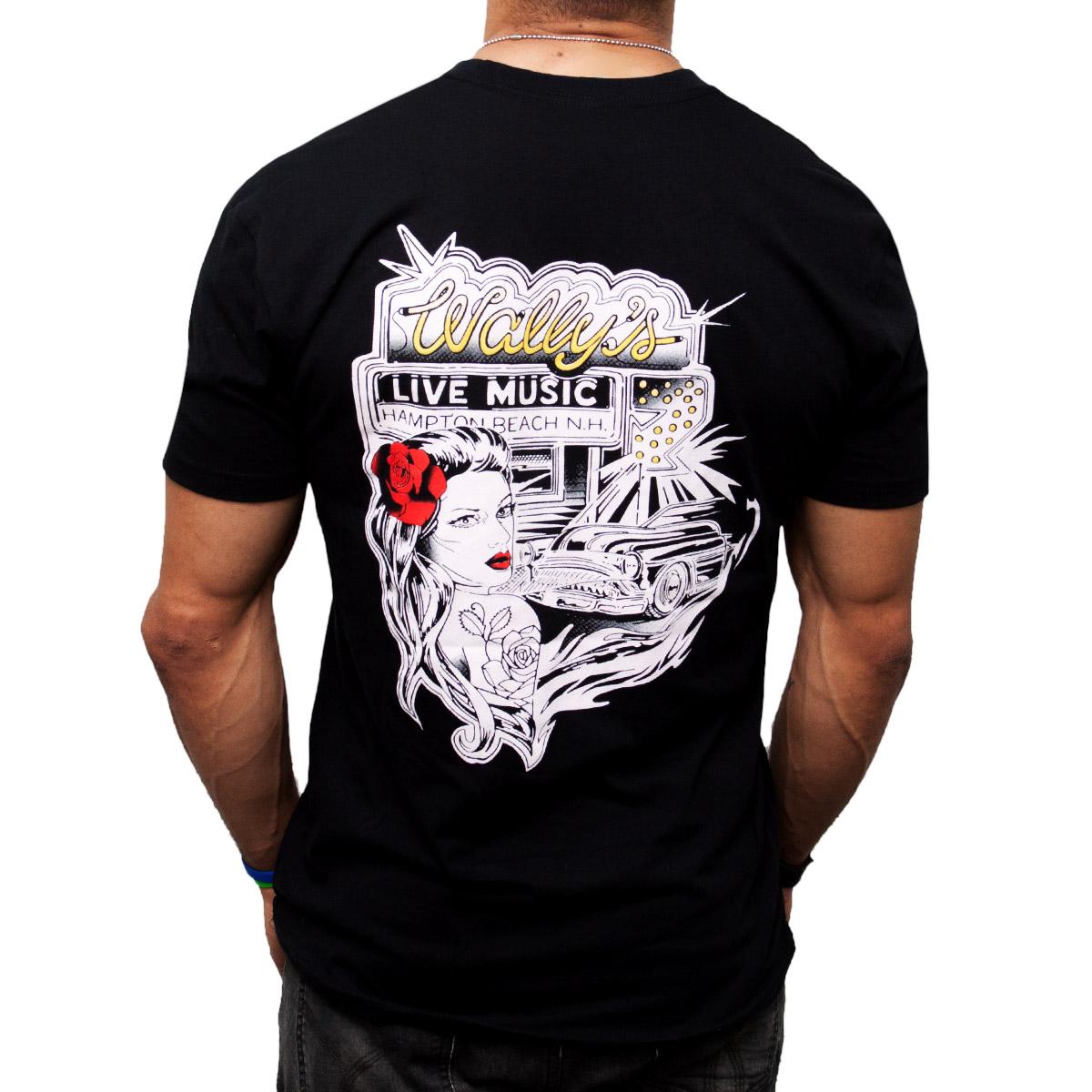 Black t shirt white cross on back - Pinup Girl T Shirt
